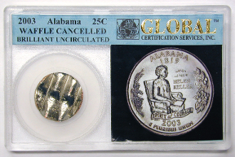 25c ALABAMA QUARTER 2003P CANCELLED ERROR COIN GLOBAL HOLDER