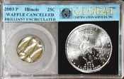25c ILLINOIS QUARTER 2003-P MINT CANCELLED WAFFLE COIN GLOBAL